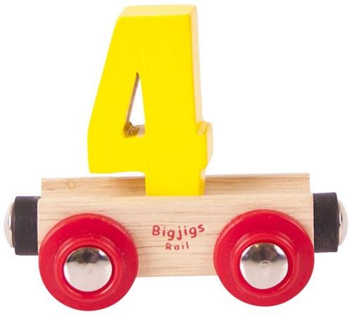 BigJigs Rail Name Number 4 , Cijferwagon 4