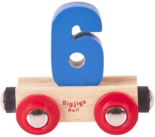 BigJigs Rail Name Number 6 , Cijferwagon 6