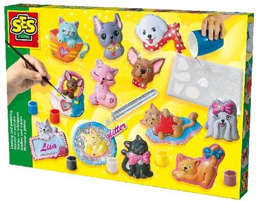 Ses 01154 Glitter Gips Gieten Hond Kat