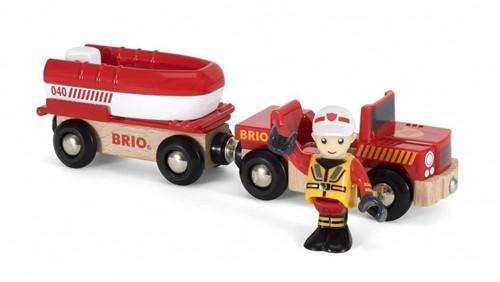 Brio Holz Eisenbahn Zubehör Feuerwehr-Boot mit Transporter 33859