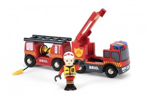 Brio Holz Eisenbahn Zubehör Feuerwehr-Leiterfahrzeug mit Licht & Sound 33811