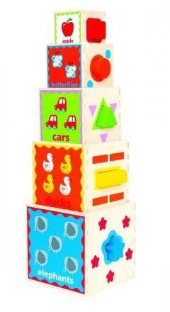Hape  houten leerspel Stapel pyramide