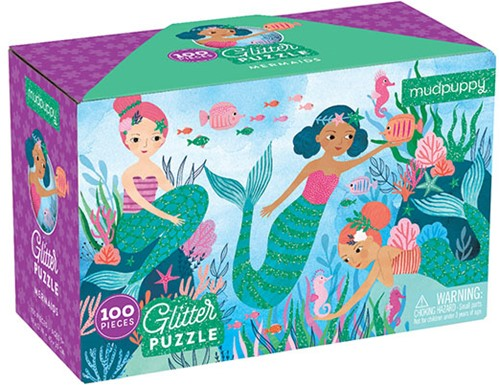Mudpuppy 100 pcs Glitter Puzzle/Mermaids