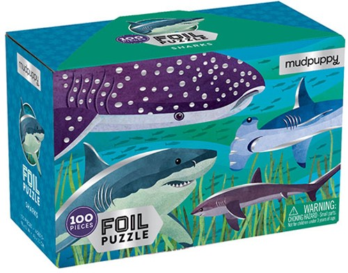 Mudpuppy 100 pcs Foil Puzzle/Sharks