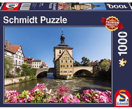 Schmidt puzzel Bamberg, Regnitz en het oude stadshuis, 1000 stukjes - Puzzel