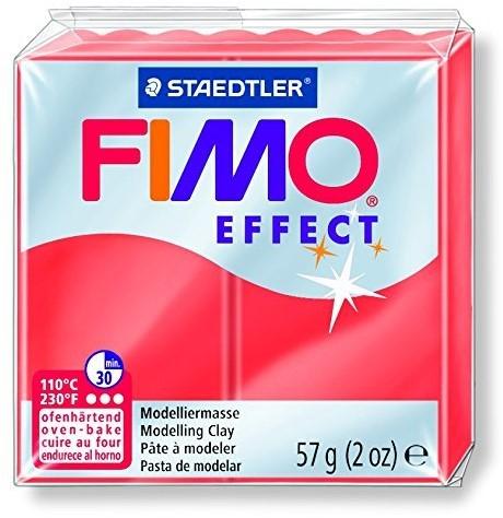 Fimo effect boetseerklei 57g transparant rood