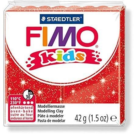 Fimo kids boetseerklei 42g glitter rood