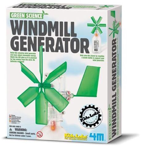 4MKidzLabsGREENSCIENCE:WINDMOLENGENERATORL13cm,bevateenspeelgoedmotor, LEDlampje,plasticbehuizingenaanverwantecomponentenomeen windmolengeneratortemakendiezonderbatterijenwerkt,