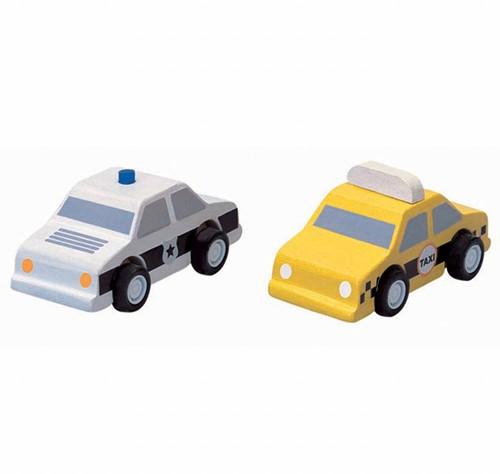 Plan Toys City taxi & police car