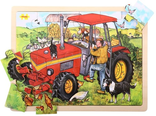 Bigjigs 24 Piece Puzzle Tray - Tractor