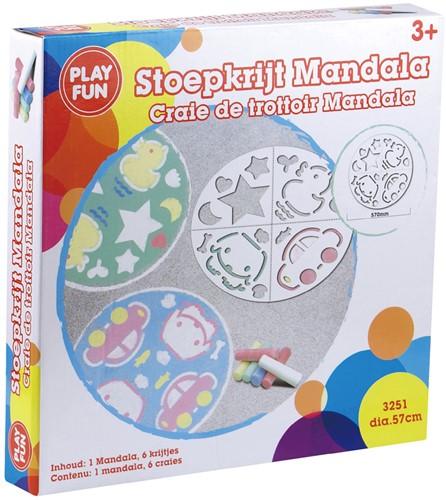 Playfun stoepkrijt Mandala met 6 staven