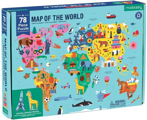 Mudpuppy 78 pcs Geography Puzzle/Map of the World