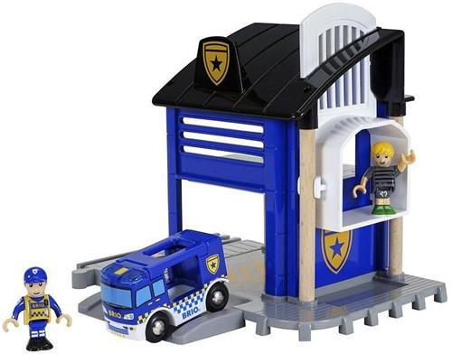 Brio Holz Eisenbahn Gebäude Polizeistation mit Einsatzfahrzeug 33813