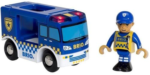 Brio Holz Eisenbahn Zubehör Polizeiwagen mit Licht und Sound 33825