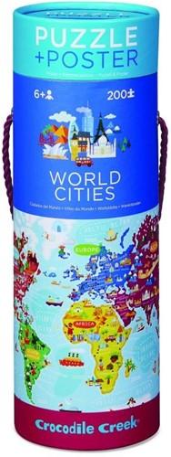 Crocodile Creek Poster & Puzzle/World Cities - 200 stukjes