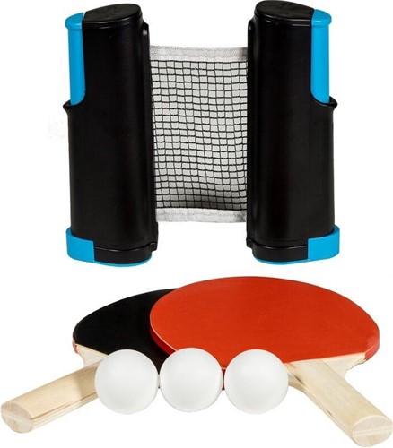 SportX Oprolbare Tafeltennisnet + 2bats **