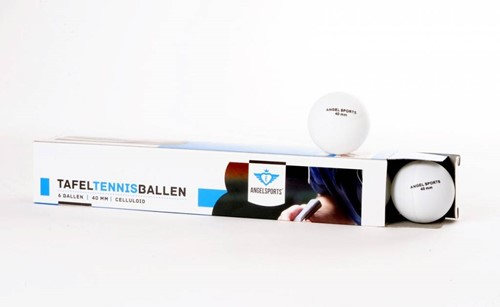 Angel Sports Tafeltennisballen 6 stuks in doosje 40mm