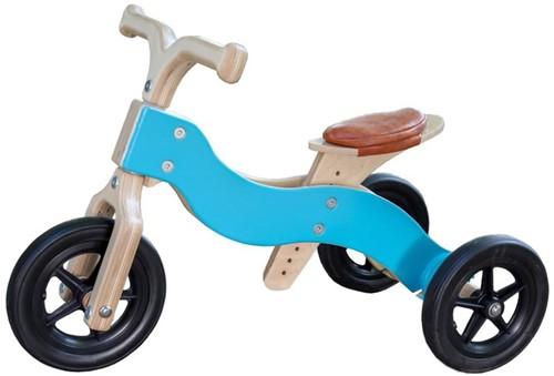 Van Dijk Toys Holz Laufrad Dike-Trike Blau 2-in-1