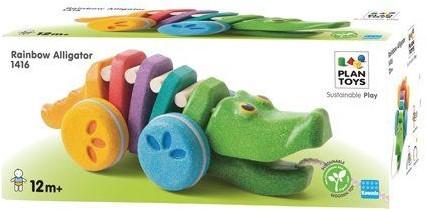 Plan Toys  Holz Ziehfigur Tanzendes Krokodil Regenbogen