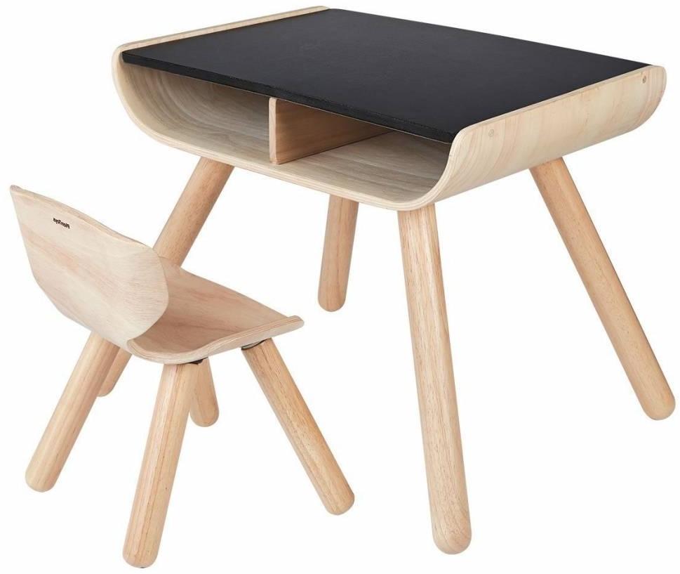 Plan Toys Holz Kindermobel Tisch Stuhl Schwarz