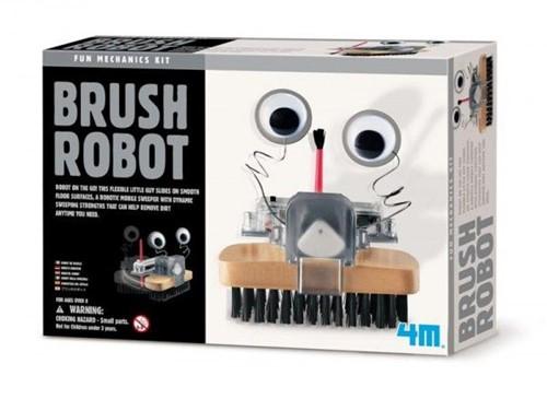 4MKIDZROBOTIX:BORSTELROBOT 9cm,bevateensetmechanischeonderdelen (montagevereist),batterijdoosmetdraden,eenhoutenborstel,verfborstel, ogen,motorengedetailleerdeinstructies,werkt op