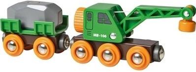 Brio Holz Eisenbahnwaggon Grüner Kranwagen mit Anhänger 33698