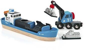 Brio Holz Eisenbahn Zubehör Containerschiff mit Kranwagen 33534