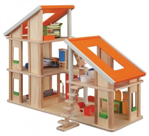 Plan Toys  Holz Puppenhaus Chalet mit Möbeln